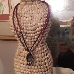 J Jill Garnet Beaded Necklace
